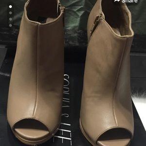 Shoedazzle- Peep Toe Heeled Booties